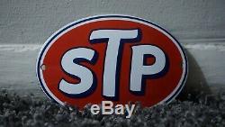 Vintage Stp Porcelaine Signe Gaz Huile Station Service Essence Pompe Rare Plaque Repousser