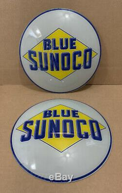 Vintage Sunoco De Pompe À Gaz Globe Lumière Verre Service Lentille Garage Station Nos Bleu