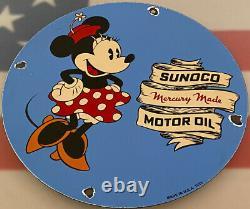 Vintage Sunoco Essence Porcelaine Signe Station D'essence Pump Plate Motor Oil Service