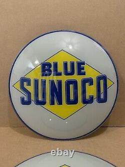 Vintage Sunoco Pompe À Essence Globe Light Glass Lens Service Station Garage Nos Blue