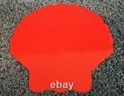 Vintage Super Shell Essence Red Oil Service Gas Pump Plate Métal Station Signe