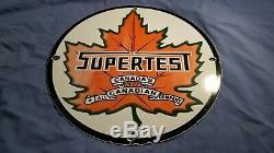 Vintage Supertest Essence Service En Porcelaine Station Pompe Plaque Annonce Se Connecter