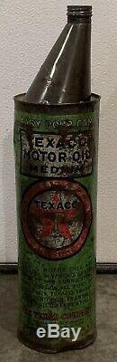 Vintage Texaco 1/2 Scarce Gallon Facile Verser De L'huile Can / Connexion / Station Service