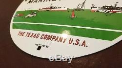 Vintage Texaco Essence Porcelaine Gaz Marine Service Station De Pompage Connexion Plate