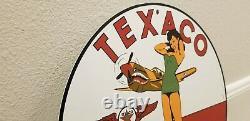 Vintage Texaco Essence Porcelaine Militaire Pin Up Girl Gas Station Signe