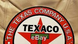 Vintage Texaco Essence Porcelaine Signe Gaz Huile Service Station De Pompage Plate Rare