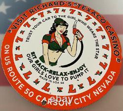 Vintage Texaco Essence Porcelaine Signe Station-service Pump Plate Motor Oil Service