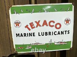 Vintage Texaco Lubrifiants Marine Service Station Porcelain Connexion Gaz Publicité