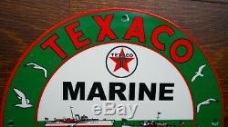 Vintage Texaco Marine Porcelain Signe Nautique Gaz Pompe À Huile Plaque Station Service