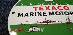 Vintage Texaco Marine Porcelaine Station Service Huile Moteur De La Pompe De Plaque Signe