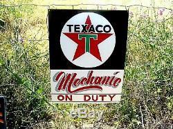 Vintage Texaco Mécanicien Sur Duty Oil Service Station Boutique Peinte À La Main Signe