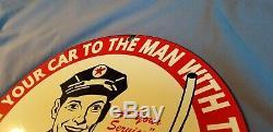 Vintage Texaco Porcelaine Motor Oil Gas Attendant Service Station De Pompage Connexion Plaque