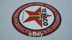 Vintage Texaco Porcelaine Signe Gaz Service Motor Oil Pump Station Red Star Rare