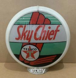 Vintage Texaco Sky Chief Gas Pump Globe Light Glass Lens Station Service 2