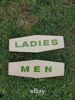 Vintage Texaco Station Service Hommes Dames Toilettes Bride Signes Signe Huile Gaz