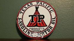 Vintage Texas Pacific Essence Porcelaine Gaz Huile Station Service Métal Pompe Signe