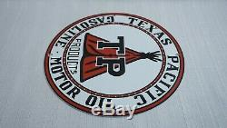 Vintage Texas Pacific Gas Oil Porcelain Sign Metal Service Station Plate Pompe