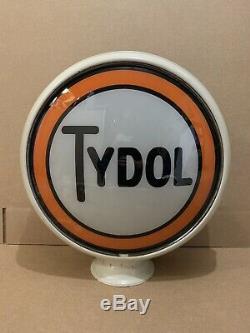 Vintage Tydol De Pompe À Gaz Globe Lumière Verre Service Lentille Garage Station Veedol Huile