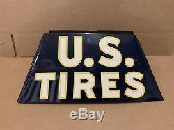 Vintage U. S. Pneus Affichage Des Pneus Stand Garage Station Service Sign Oil Gas