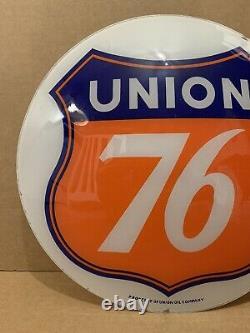 Vintage Union 76 Pompe À Essence Globe Light Glass Lens Service Station Garage Oil Sign