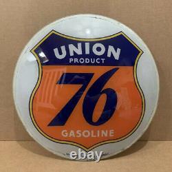 Vintage Union 76 Pompe À Essence Globe Light Glass Lens Service Station Garage Sign 1