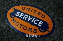 Vintage United Motors Service Porcelain Sign Gas Oil Metal Station Essence Rare