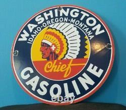 Vintage Washington Essence Station De Service D'essence De Porcelaine Plaque De Pompe Panneau Publicitaire