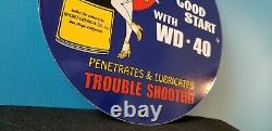 Vintage Wd 40 Porcelain Gas Oil Lube Pin Up Girl Service Station Pump Plate Sign