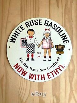 Vintage White Rose Essence Porcelaine Signe Gaz Pompe À Huile Plaque Station Service Nr
