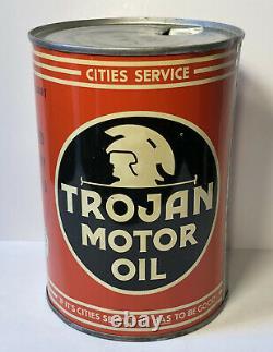 Vtg 1940s Cities Service Trojan Motor Oil 1 Quart Oil Can Tin Gas & Oil Station