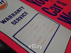 Vtg Grand Gulf Gas Oil Station Service Pilastre Poster Signe 12 Serv Sécurité Point