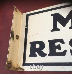 Vtg Porcelaine Mobile Gas Service Station Flange Restroom Signs Old