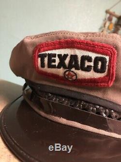Vtg Texaco Oil Gas Service Préposé Uniforme Chapeau Cap Unitog Kant-krack