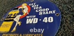 Wd40 Style Huile Gaz Porcelaine Vintage Lube Pin Up Service Station Fille Pompe Signe