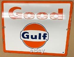 (a) Vintage Bon Golfe Signe De Porcelaine, Plaque Pompe, Gaz Et Pétrole, Station-service